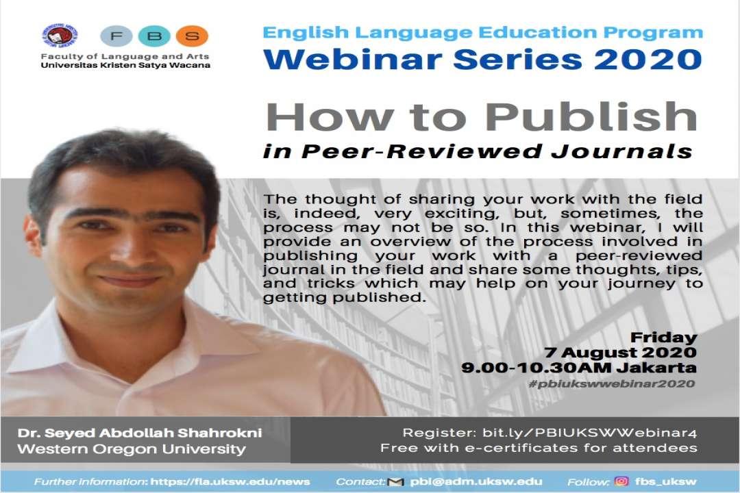 PBI UKSW Webinar Series 2020: How to Publish in Peer-Reviewed Journals